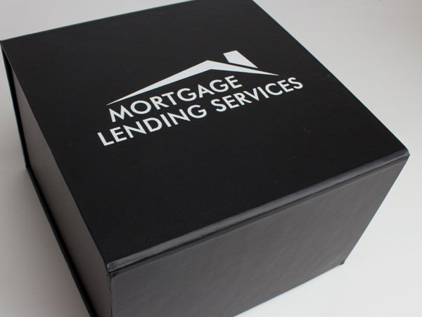 Mortgage lending screen printed front open magnet box is like a baby box for new homeowners